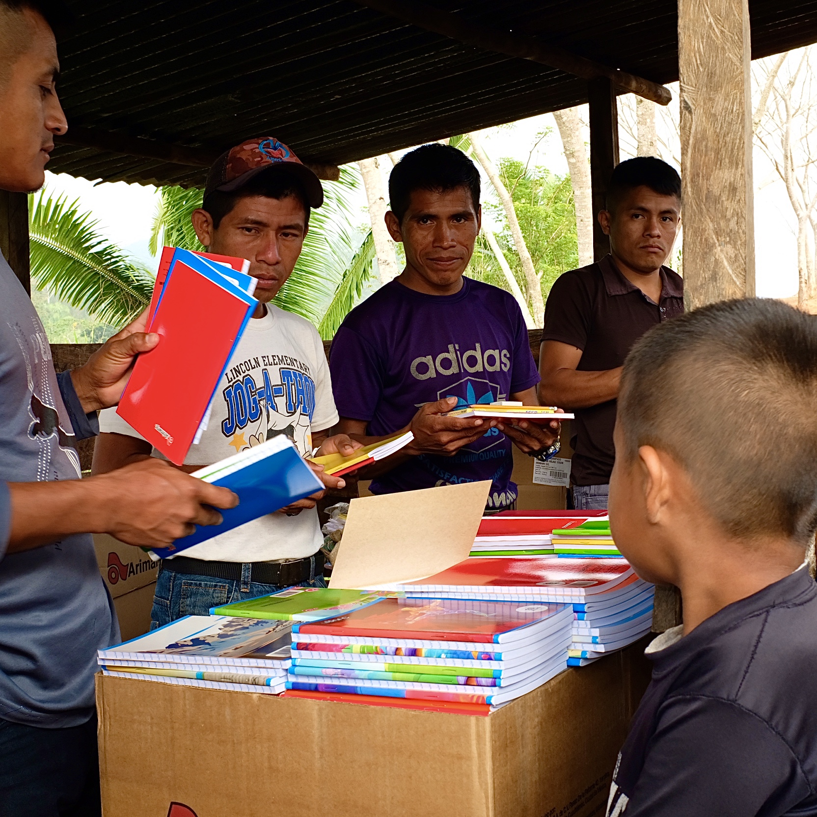 Passing out School materials in Guatemala